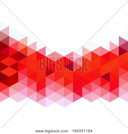Abstract red triangles mosaic background. Design with place for text.