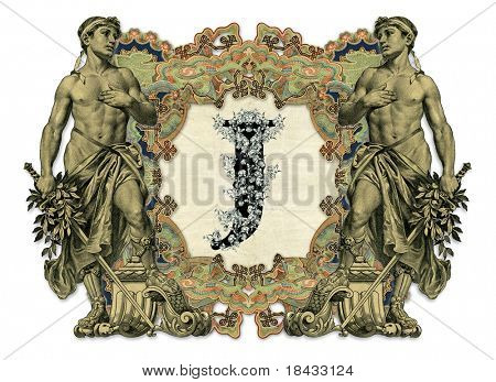 Luxuriously illustrated old capital letter J with man.