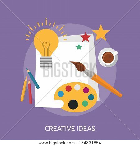 Creative Ideas Conceptual Design | Great flat illustration concept icon and use for Business, Creative Idea, Concept, Marketing and much more