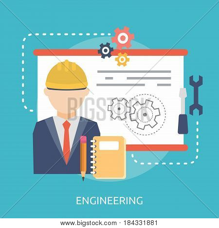 Engineering Conceptual Design | Great flat illustration concept icon and use for Business, Creative Idea, Concept, Marketing and much more