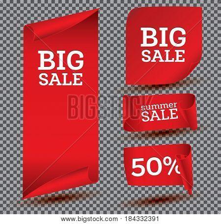 Big Sale Banner Set on Transparent Background. Ribbon