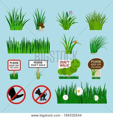 Grass and lawn signs vector set for garden. Do not walk on the grass, No dog pooping icons