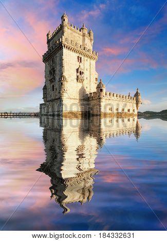 Lisbon Belem Tower - Tagus River Portugal at sunset