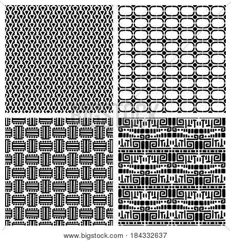 Tribal fashion primitive seamless patterns. Vector african ethnic pattern set for print background design or fabric texture