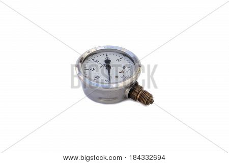 Isolated on white water pressure gauge in the tap and steam.