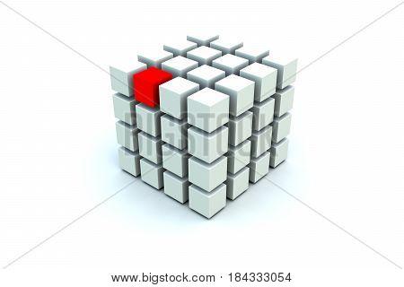 block chain red box unique white background 3d illustration