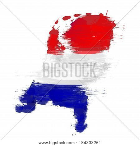 Grunge map of Netherlands with Dutch flag