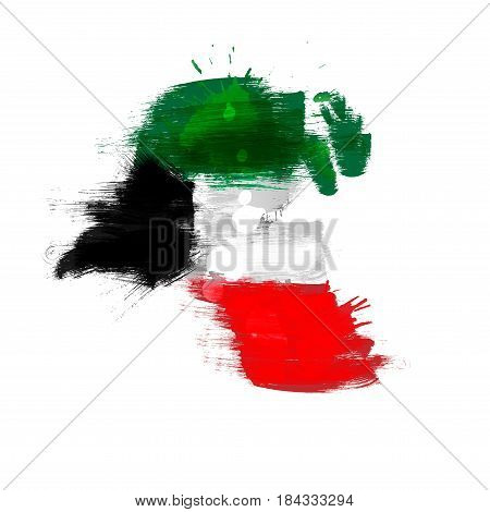 Grunge map of Kuwait with flag on a white background