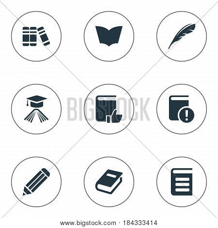 Vector Illustration Set Of Simple Reading Icons. Elements Pen, Important Reading, Plume And Other Synonyms Graduation, Page And Reading.