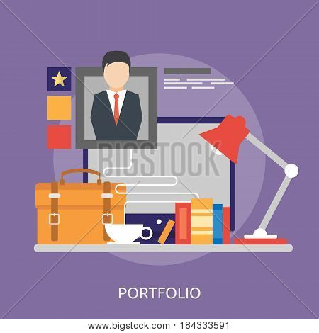 Portfolio Conceptual Design | Great flat illustration concept icon and use for Business, Creative Idea, Concept, Marketing and much more
