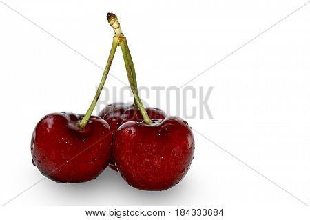 Three cherries studio isolated on white background