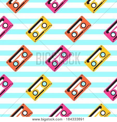Vintage pop art music tape striped seamless pattern. Audio casette diagonal rows blue and white background.