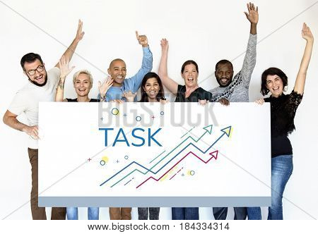 People holding network graphic overlay billboard together