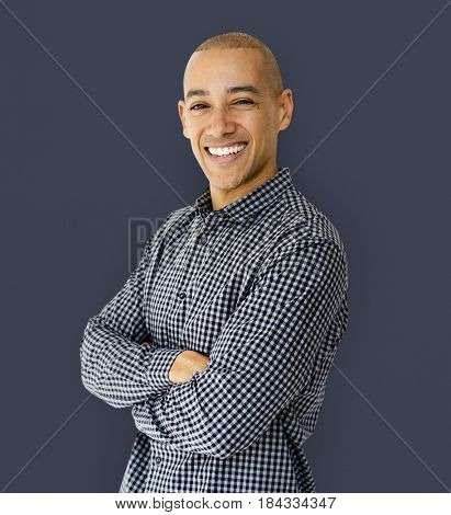 A man is smiling in a shoot