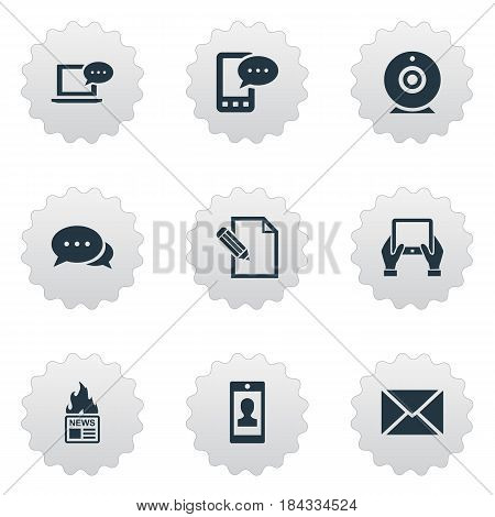 Vector Illustration Set Of Simple Newspaper Icons. Elements Post, Notepad, Broadcast And Other Synonyms Man, Message And Epistle.