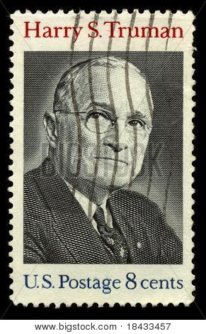 USA - CIRCA 1930: A stamp printed in USA shows Portrait President Harry S. Truman circa 1930.