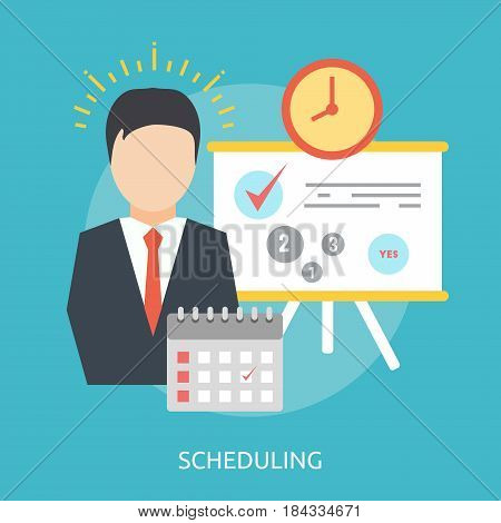 Scheduling Conceptual Design | Great flat illustration concept icon and use for Business, Creative Idea, Concept, Marketing and much more