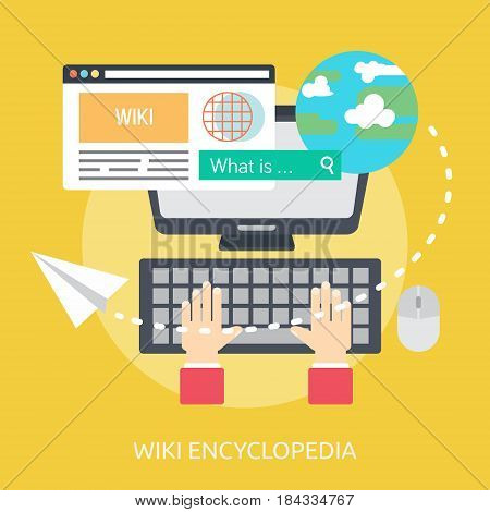 Wiki Encyclopedia Conceptual Design | Great flat illustration concept icon and use for Business, Creative Idea, Concept, Marketing and much more