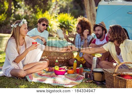 Friends having picnic in park on a sunny day
