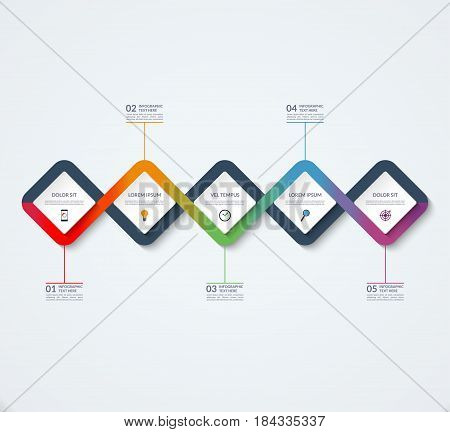 Infographic template of square elements. Business concept with 5 options, steps, parts, segments. Vector banner for web, timeline infographics, workflow layout, diagram, chart, annual report