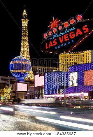 Las Vegas street at night (Nevada, USA)