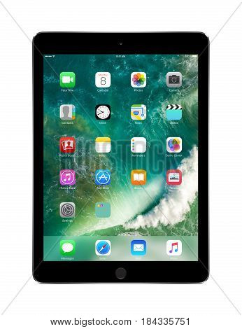 Varna Bulgaria - March 10 2016: Apple Space Gray iPad Pro with touch ID displaying iOS 10 designed by Apple Inc. Isolated on white background. High quality.