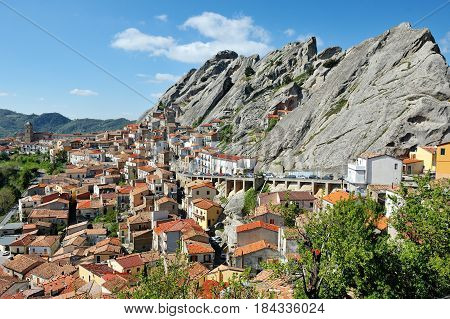Pietrapertosa Basilicata Italy - scenic panoramic view of the town built in the dolomites mountains