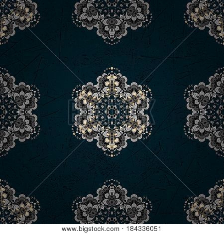 Gray on blue background. Decorative symmetry arabesque. Vector illustration. Good for greeting card for birthday invitation or banner. Pattern medieval floral royal pattern.