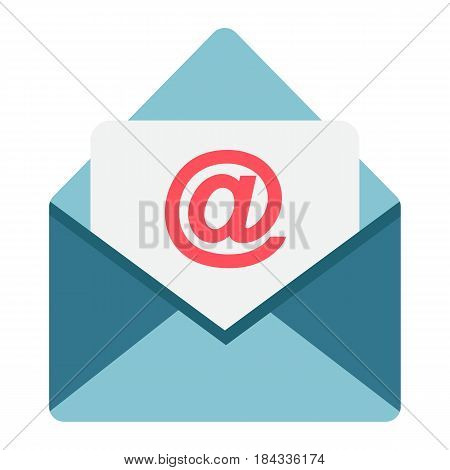 Email flat icon, envelope and website button, vector graphics, a colorful solid pattern on a white background, eps 10.