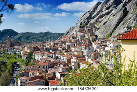 Pietrapertosa Basilicata Italy - panoramic view of the town built in the mountain rock