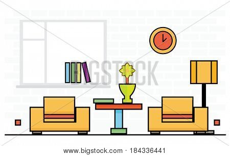 Two Yellow Chairs with Lampshade and Table. Room Interior.