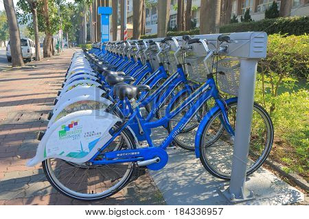 KAOHSIUNG TAIWAN - DECEMBER 14, 2016: Citybike Kaohsiung bicycle share scheme. Citybike bicycle share scheme is ran by Kaohsiung City.