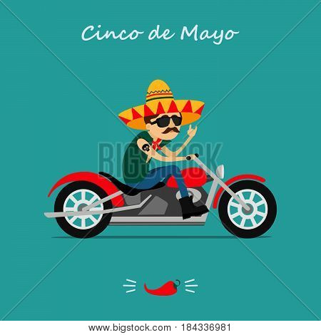 Mexican rocker  in a sombrero  rides on the motorcycle.  Greeting card 2017