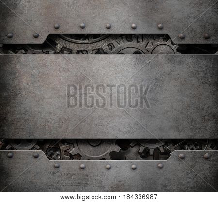 old cogs and gears wheels steam punk technology background 3d illustration
