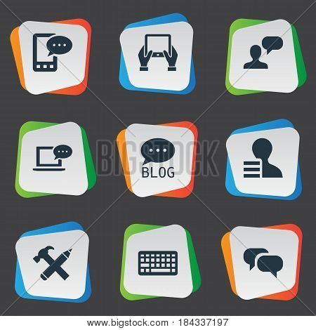 Vector Illustration Set Of Simple Newspaper Icons. Elements Notepad, Repair, Gossip And Other Synonyms Gain, Hammer And Laptop.