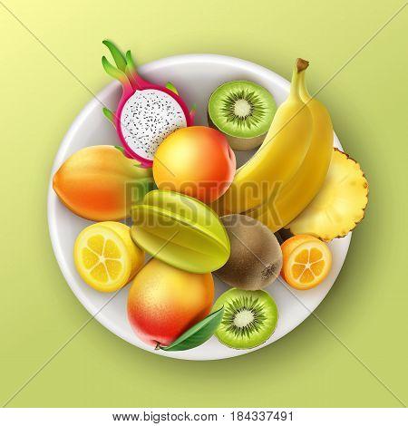 Vector plate full of tropical fruits pineapple, kiwi, mango, papaya, banana, dragonfruit, peach, kumquat lemon top view isolated on background