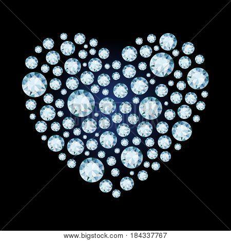 Diamond heart. Valentine's Day card. Vector illustration