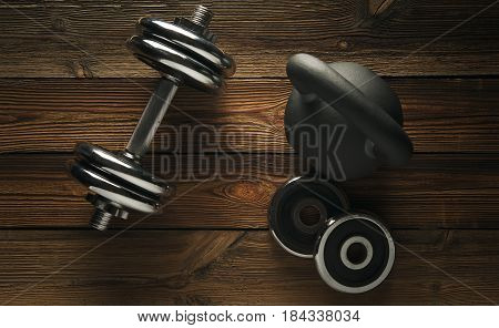Top View Of Black Iron Kettlebell, Dumbbell On Floor