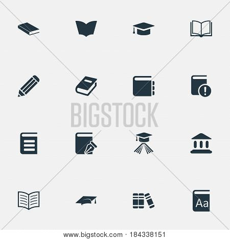 Vector Illustration Set Of Simple Knowledge Icons. Elements Blank Notebook, Alphabet, Notebook And Other Synonyms Textbook, Encyclopedia And Hat.
