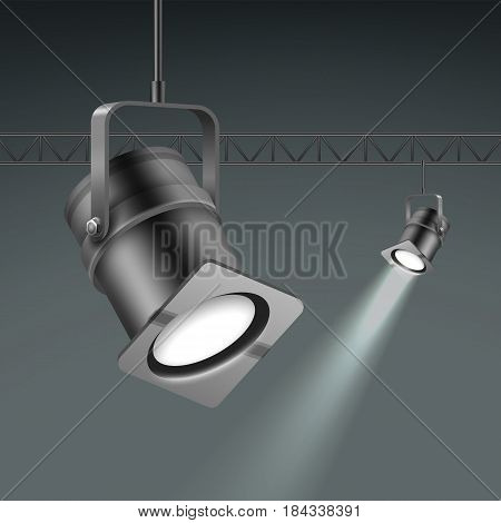 Vector ceiling illuminated spotlights close up side view isolated on dark grey background