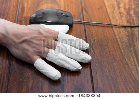 a hand with PC mouse concept incapacitated handicapped