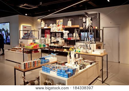 Amsterdam, Netherlands - April, 2017: I am Amsterdam shop interior on central station in Amsterdam, Netherlands