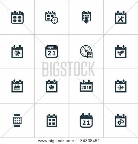 Vector Illustration Set Of Simple Time Icons. Elements Event, Summer Calendar, Agenda And Other Synonyms Reminder, Plant And Time.