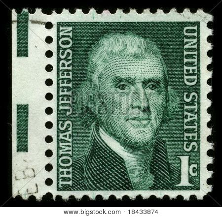 USA - CIRCA 1930: A stamp printed in USA shows image portrait Thomas Jefferson (April 13, 1743 - July 4, 1826) was the third President of the United States (1801-1809), circa 1930.