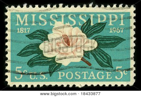 USA - CIRCA 1967: A stamp printed in USA shows image of the dedicated to the Mississippi circa 1967.