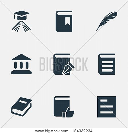 Vector Illustration Set Of Simple Reading Icons. Elements Book Cover, Library, Encyclopedia And Other Synonyms Bookmark, List And Reading.