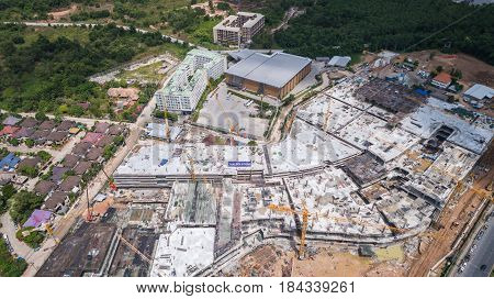 PHUKET THAILAND - APRIL 26 : Top view site of big construction for Central Festival Phuket phase two in Phuket on April 26 2017. Aerial view from flying drone