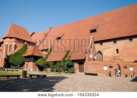 Malbork Poland - Jule 19 2014: Architecture of Malbork Castle also called as Marienburg Teutonic Order at Pomerania in Poland. World Heritage List UNESCO