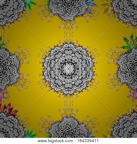Seamless pattern mehndi floral lace of buta decoration items on background. Vector floral wedding decorative elements.
