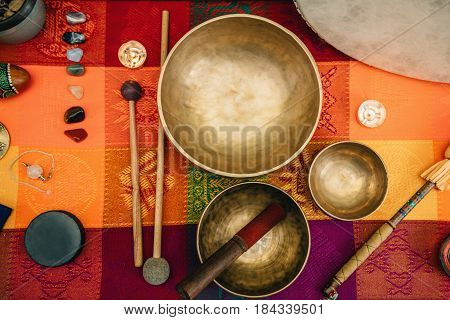 Tibetan Singing Bowl, Sound Instrument,  Color Image, Toned Inage,